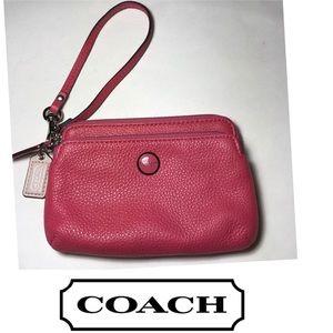 COACH PINK LEATHER WRISTLET WALLET CLUTCH BAG